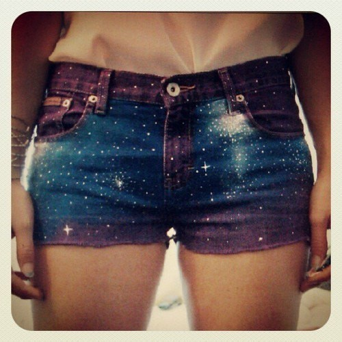 Style / Purple Galaxy Shorts… Sort of awesome on We Heart It. http://weheartit.com/entry/43462991