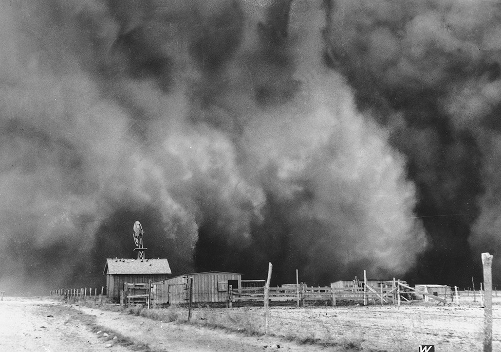 "smithsonianmag:    Are We Headed for Another Dust Bowl?  A West Texas thunderstorm on July 24 kicked up a dust cloud as the winds passed over ground parched and barren from a drought that began back in 2010. As the dust passed over Interstate 20 just before 8 p.m., drivers lost sight of the road before them and quickly slowed down, setting off a chain of collisions as 17 cars and trucks ran into one another. Two 18-wheelers sandwiched one car, killing its driver and passenger. Nearly 60 percent of the United States, mostly in the center and west of the country, is currently experiencing moderate to exceptional drought conditions, according to the National Drought Monitor, and the drought is expected to persist into 2013 for many of those already parched states. The effects of these dry times have come in many forms: The costs of agricultural products, including beef and corn, and the food products derived from them have risen. Barges are having difficulty traversing the Mississippi River. Dry soil is causing the foundations of some homes to crack and leak. And dust storms, like the one in Texas, are echoing the 1930s Dust Bowl, the subject of a new documentary by Ken Burns that premieres on PBS this weekend. - Continue reading at Smithsonian.com.  Photo: Associated Press  The US Drought Monitor site is super-handy — you can go there and see the current map.  A large swath of the midwest is covered in maroon for ""exceptional drought.""  Central Texas has actually received enough rain that we have moved down to the ""abnormally dry"" or ""moderate drought"" levels.  That is an improvement from the exceptional drought status we had been under for a long while."