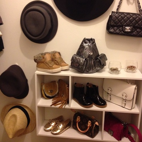 Let's play a game! This Chanel-filled closet belongs to: A) #MonicaRose B) #kimkardashian C) #AlaiaRose (Monica Rose's 2-yr-old daughter!) or D) None of the above!