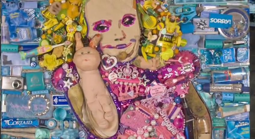 This portrait of Honey Boo Boo was made from 25 pounds of garbage.