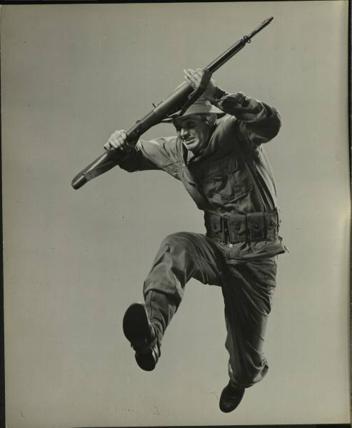 gunsandposes:  Gjon Mili photo of soldier with Garand rifle. No date, from the Life magazine archives.