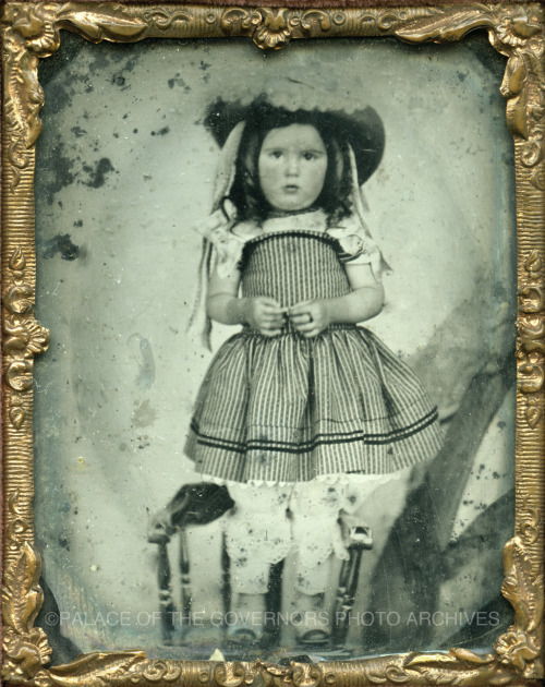 Small Girl in Hat and Striped Dress Standing on Chair ca 1860 Negative #182180