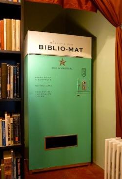 "neil-gaiman:   What is the story behind the Biblio-mat? I went fishing this past summer with Craig Small, co-founder of The Juggernaut, an animation studio in Toronto. I had this idea that I would love to have a vending machine that gave out random books. I pictured it as a painted refrigerator box with one of my assistants inside; people would put in a coin and he would drop a book out. But Craig is more pragmatic and visionary then I am. He said, ""You need to have an actual mechanical vending machine."" That was beyond my wildest imaginings, but not Craig's, so he just built it for me. … What books are stocked in the Biblio-mat?The books in the machine are two dollars each — that's not enough to make any profit, but the nature of the second-hand book business is that I end up with a lot of books that are interesting and worth keeping and disseminating, but have no practical retail value. Historically in the used books trade there has always been the dollar cart in front of the store. This is just a spin on that.  A random used-book vending machine. I think I am in love."