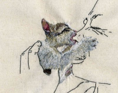 laughingsquid:  Embroidery Art of Animals Behaving Badly