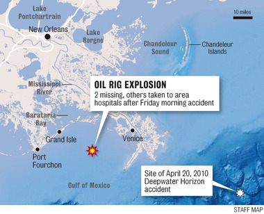 11 airlifted, two missing after Gulf platform explosion WWL-TV: The Coast Guard says that 11 people have been airlifted out and two are missing after an explosion at a platform in the Gulf of Mexico, south of Grand Isle, Louisiana. Captain Peter Gautier of the Coast Guard said the platform, run by Black Elk Energy, was not producing oil and no environmental threat is anticipated. A federal official says a team of environmental enforcement inspectors is flying to the scene. Follow updates on breakingnews.com. Map: The Times-Picayune/Nola.com staff