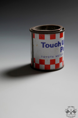 Simple touch. You used to get a tin of touch up paint with every car.   madbrosengineering:  Garage life series #2 - still life tools.