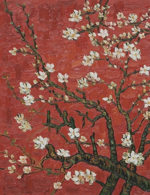 efedra:  Branches Of An Almond Tree In Blossom (Artist Interpretation in Red), 1890 by Vincent Van Gogh
