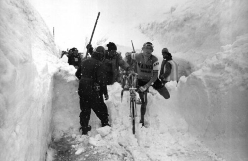 velominati:  ildolore:  Unknown rider being helped through the snow on the Stelvio during the Giro 1965. grazie, Giro for Ghisallo.  Rule #9 demonstrated.  Hup! GAAAAH! COLD!!