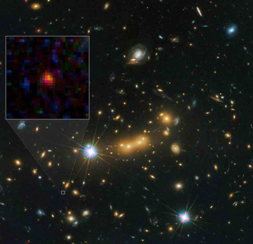 A Galaxy Far, Far Away is Furthest in Universe:  A new celestial wonder has stolen the title of most distant object ever seen in the universe, astronomers report. The new record holder is the galaxy MACS0647-JD, which is about 13.3 billion light-years away. The universe itself is only 13.7 billion years old, so this galaxy's light has been traveling toward us for almost the whole history of space and time.  Far. Out.