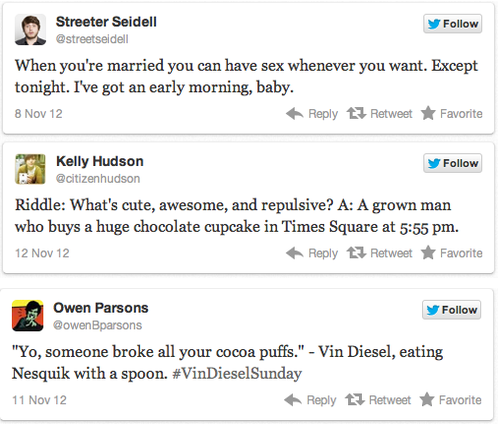 HUMOR US - Staff Jokes [Click for full list] Riddles, sex & Vin Diesel - The recipe for a perfect Sunday