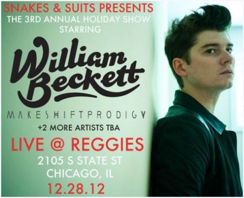 William Beckett has announced his third annual holiday show at Reggie's in Chicago, Illinois. The show is for all ages and will take place on December 28th. Makeshift Prodigy will also be on the lineup and additional bands will be announced soon. Tickets are on sale now at TheWilliamBeckettSociety, or you can purchase them on Saturday, November 17th at the Reggie'sLive website. Ticket prices range from $13 - $15 USD. Tickets will go fast, so be sure to get yours before they sell out!