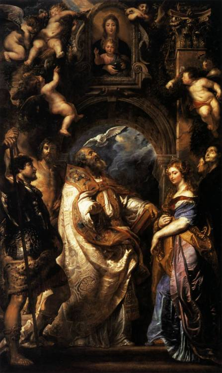RUBENS, Pieter Pauwel (b. 1577, Siegen, d. 1640, Antwerpen) The Ecstasy of St Gregory the Great1608Oil on canvas, 477 x 288 cmMusée des Beaux-Arts, Grenoble