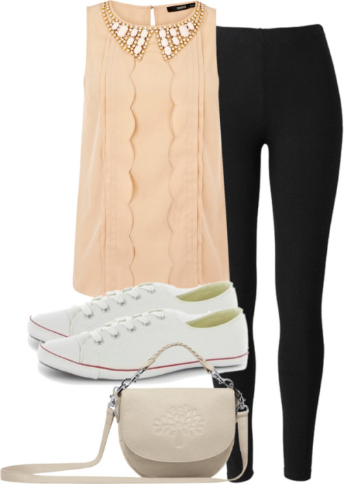 Eleanor inspired cousin's birthday requested by ieleanorcalderstyle featuring a white satchelOasis sleeveless top, $48 / People Tree slim pants, $38 / Converse  shoes / Mulberry white satchel
