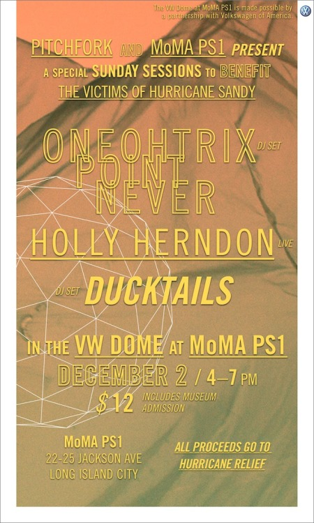 hollyherndon:  Playing this Sandy Relief show with 0PN and Ducktails - all proceeds go to Sandy Relief efforts!