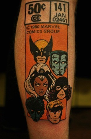 mygeekyramblings:  One of the coolest comic tattoos I have ever seen.
