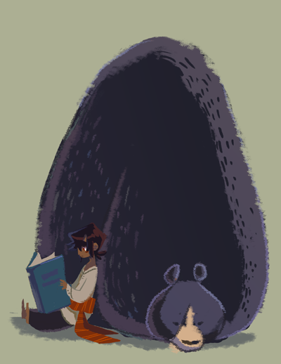 An excuse to draw more hypothetical kiddy-guy with big wild animals adventures and also an attempt to at old timey children's book illustrations.