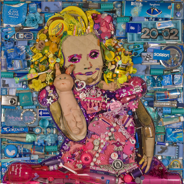 Jason Mecier, Portrait of Honey Boo Boo, created entirely from trash.
