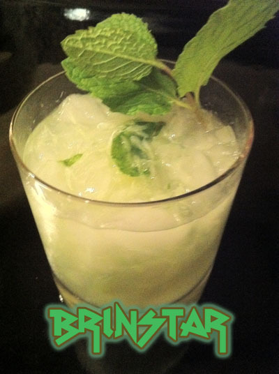 mcleodb: The Brinstar (Metroid cocktail) Ingredients:1 pt cachaca1 pt absinthe1 pt simple syrup1/2 lime1 sprig of Mint  Directions: Muddle the lime, simple syrup, and mint together in a shaker. Add ice and the alcohol and shake well. Pour the mixture into a lowball glass. A note from the creator:  Brinstar is a zone overgrown with vegetation. Having very recently been introduced to a lime-y cocktail known as a caipirinha, I decided to try combining it with another leafy drink - namely, a mojito. The resulting combination, plus a little extra, wound up being a tasty creation that I'm rather proud of.  Drink created and photographed by Brendan McLeod.