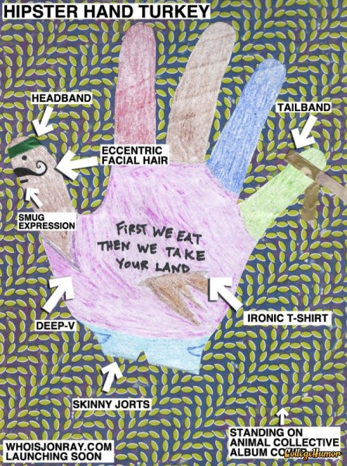 The Hipster Writer Hand Turkey When the hipster movement reaches the Turkey farms, we'll all end up eating Tofurkey and the birds will all dress like this.