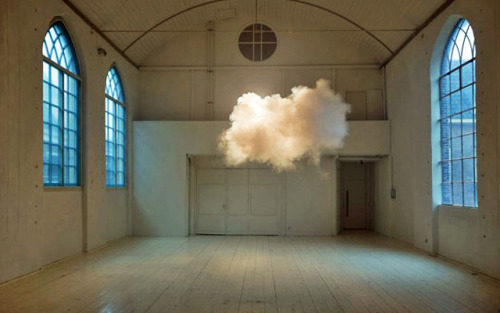 "nedhepburn:   Dutch artist Berndnaut Smilde has developed a way to create clouds indoors by carefully regulating the space's humidity, temperature and light. This intersection of science and art was recently named one of TIME magazine's ""Best Inventions of the Year 2012.""   Artist Creates Real Clouds Indoors."
