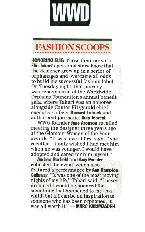 Very moving write-up in Women's Wear Daily about Elie and Tuesday's Worldwide Orphans Foundation gala.