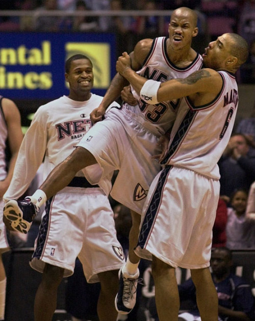 bklyn-nets:  Throwback: 2001. Stephon Marbury, Stephen Jackson and Kenyon Martin celebrate a game-winner.