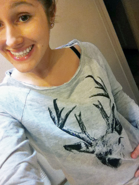 Thanks Bianca for telling me about this deer shirt!! I had to order it online because the store here doesn't carry it, but it's literally EXACTLY what I've been looking for all year! Well…after I took the red hipster glasses off…Oops…Haha. But THANK YOU!! I love it!!! <3 <3Jo