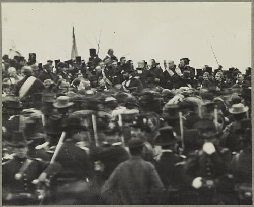 "November 19, 1863: Lincoln Delivers Gettysburg Address On this day in 1863, President Abraham Lincoln delivered the Gettysburg Address at the dedication of a military cemetery in Gettysburg, Pennsylvania during the American Civil War.  The speech reflected Lincoln's redefined conviction that the Civil War was not just a fight to maintain the Union but also a struggle for freedom and equality for all. Although the speech consisted of only 272 words, it remains one of the most powerful and memorable discourses in American history. Read Lincoln's Gettysburg Address on Ken Burns's ""The Civil War"" site.   Photo: Only known and confirmed photograph of Lincoln at Gettysburg, Library of Congress"