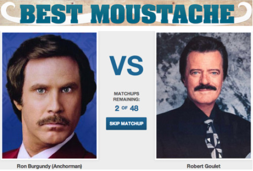 Who has the better Movember Moustache: Bugandy or Goulet? [Click to vote]  The battle is heating up so get your votes in now.