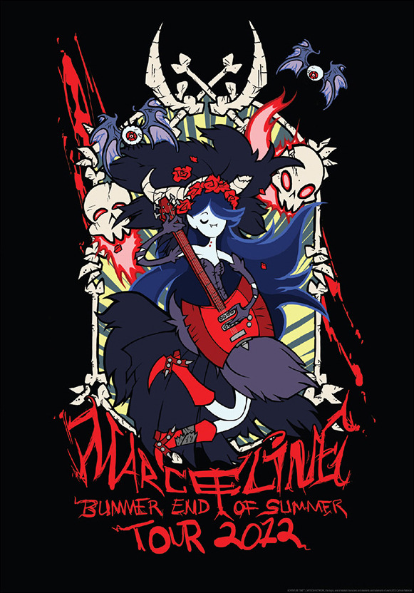 adventuretime:  Marceline Tour Print Did you all buy a copy of Karen Hallion's Bubblegum Nouveau print from Mighty Fine yesterday? Well, time to dig in your wallets once again and spring for this Marceline print by artist Penelope Barbalios. Rick Griffin and Stanley Mouse would be proud. Thanks, Penelope. (Also available in T-shirt form for ladies and gents.)