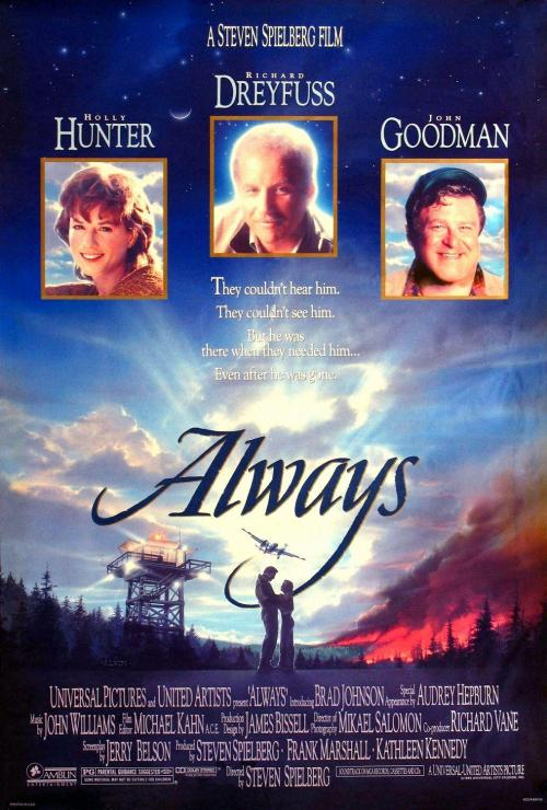 Always is one of Spielberg's weakest films, but I have a real affection for it. It's a sweet little romantic fantasy that possesses a gorgeous nostalgic atmosphere, which is wonderfully conveyed in this poster.