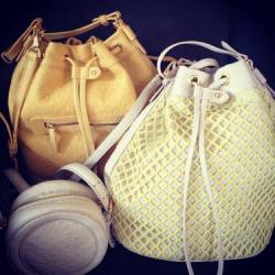 Previewing Charlotte Ronson's spring collection! We love these bags!