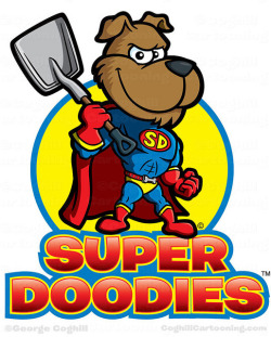 Superhero Dog Cartoon Logo  - Super Doodies on Flickr.Via Flickr: Cartoon logo and superhero dog mascot character for pooper scooper service Super Doodies.