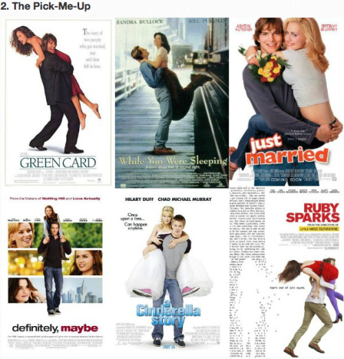 The 5 Types of Romantic Comedy Movie Posters [Click to view all] The PIck-Up: You either love 'em or hate 'em