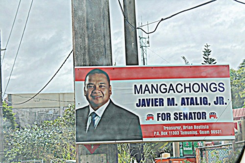 "sumahi:  2012 Guam Political Sign Awards The Two Wrongs and One Right Don't Make a Right Award: Javier Atalig I heard so many people complain about the first round of signs created for Javier Atalig and the fact that he used the term ""Mangachongs"" in his sign. The use of the ""s"" in order to pluralize the word for buddy or pal ""gachong"" is what offended most people. But it was so much more complicated and interesting then that. It is common today to hear people use the term ""gachongs"" when referring to their friends. In Chamorro you don't pluralize with an ""s"" you either add the prefix ""man-"" or follow it up with the word ""siha"" afterwards. Atalig pluralized it correctly left the ""s."" He later created signs that removed the s, but the only problem was that the word still remained misspelled. Although many Chamorros still don't use it this mark ' or the glota, it is necessary in order to indicate how a word is properly pronounced. The correct way of spelling the intended term is ""Manga'chong""and then you have the option of including the correct pronoun ""hit.""  Ooh, and this one's a nerdy linguist issue! Thanks, Sumahi!"