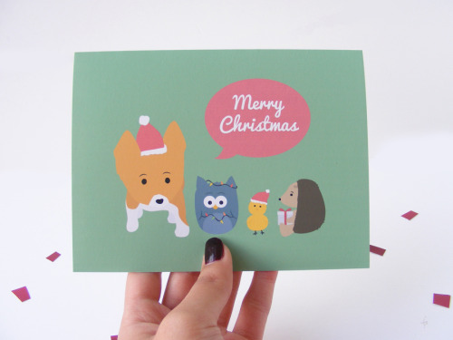 tiffbitsays:  Corgi & Friends Christmas Cards now in my shop!!!  I'm super excited to release these because I spent blood, sweat, and tears to get these made by myself.  You can get all the details of the card on the etsy listing, but they're printed with Epson Archival Inks on 80# Matte Paper, and they're cut, scored, folded, and everything by me :)
