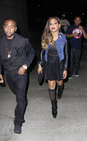 Christina Milian + Jas Prince arrived to the Staples Center for the LA Clippers vs. Miami Heat game Wednesday