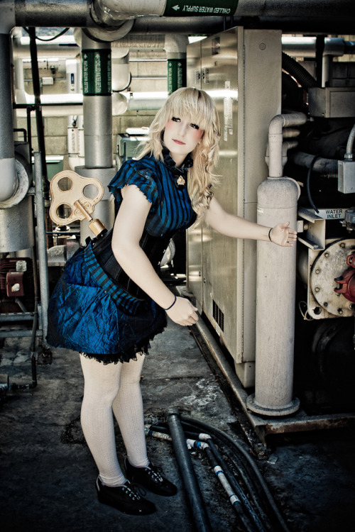 Wind-up Doll Sonata.  Steampunk ensemble I made for Gaslight Gathering complete with real turning key! :D Dassa me.  Photography by Mike Rollerson.
