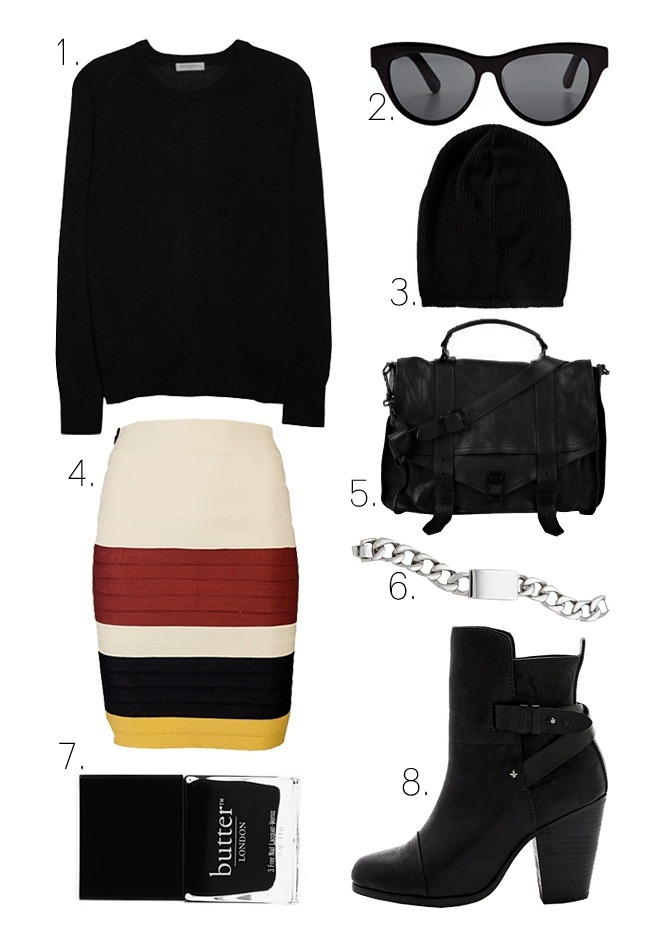 what-do-i-wear:  1. Equipment Sloane Cashmere Sweater2. Elizabeth and James Charlton Sunglasses3. ASOS Lightweight Oversized Knitted Beanie4. Boy. by Band of Outsiders Suspender Tape Skirt5. Proenza Schouler PS1 Large Leather Satchel6. Nicholas ID Bracelet7. Butter London Nail Polish in Union Jack Black 8. Rag & Bone Kinsey Boots (image: lefashionimage)