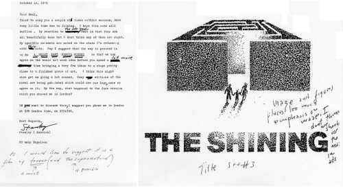 "Stanley Kubrick commissioned hundreds of drawings from legendary graphic artist Saul Bass for art used in the posters and ads for ""The Shining."" In this letter, Kubrick gives his thoughts on Bass's early round of ideas. Los Angeles Fans: Be sure to stop by the Academy to check out our Stanley Kubrick exhibition running now through March 2013."