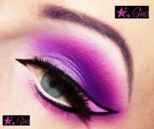 Ines K. creates a vibrant pink and purple winged eye look!