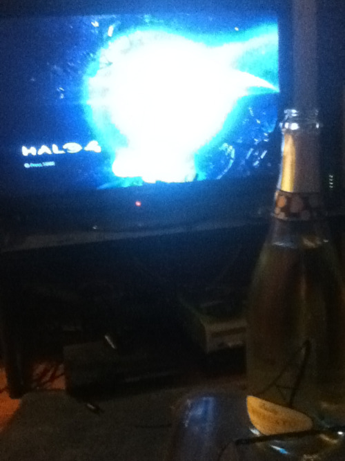 Day 68 Halo 4 and champagne.