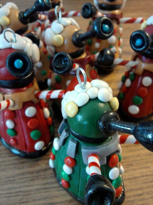 Christmas dalek tree ornaments are back! I'll have proper photos taken of them in the next few days with my other Christmas toys that will be for sale.  Enjoy!