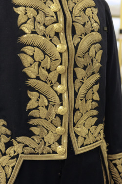 Detail of gold embroidered taro leaves and fern on court uniform, c. 1878.