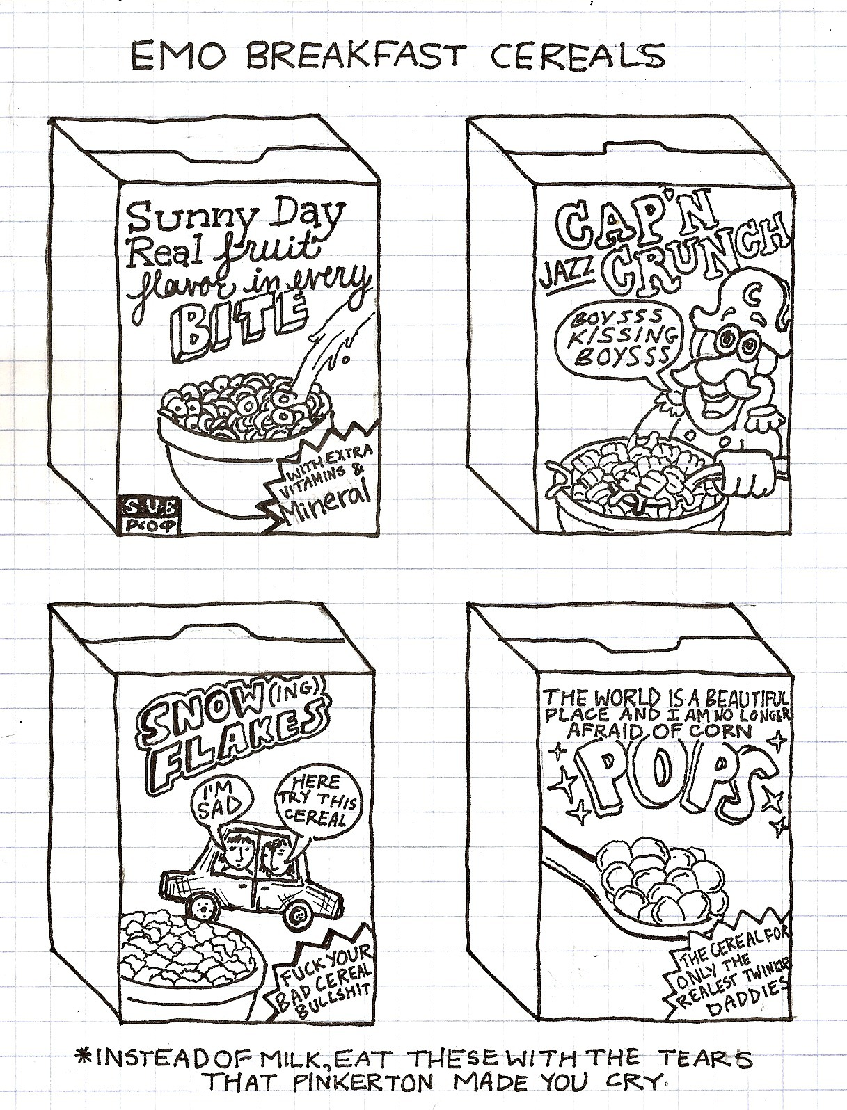 "thisishangingrockcomics:  i wanna do glam rock cereals but the only thing i can think of are ""iggy pops"" and that in an of itself just seems kinda obvious  oh the tags"