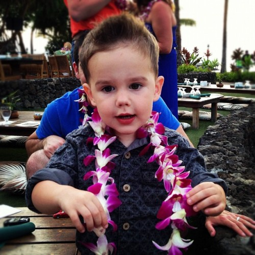 My handsome little devil :) #kingston #maui #hawaii #lahaina #luau #lei  (at Old Lahaina Luau)