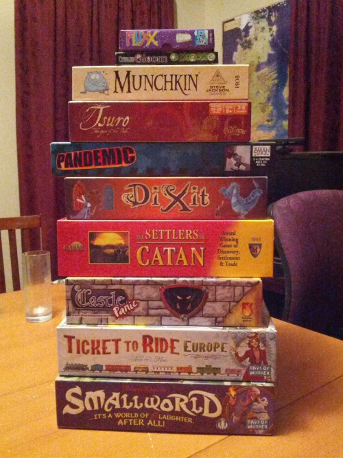 seenontabletop:  Our collection of games which we've bought specifically because they seemed like fun based off seeing them on Tabletop.  Pandemic is not fun.  Pandemic is masochism in a cardboard box.