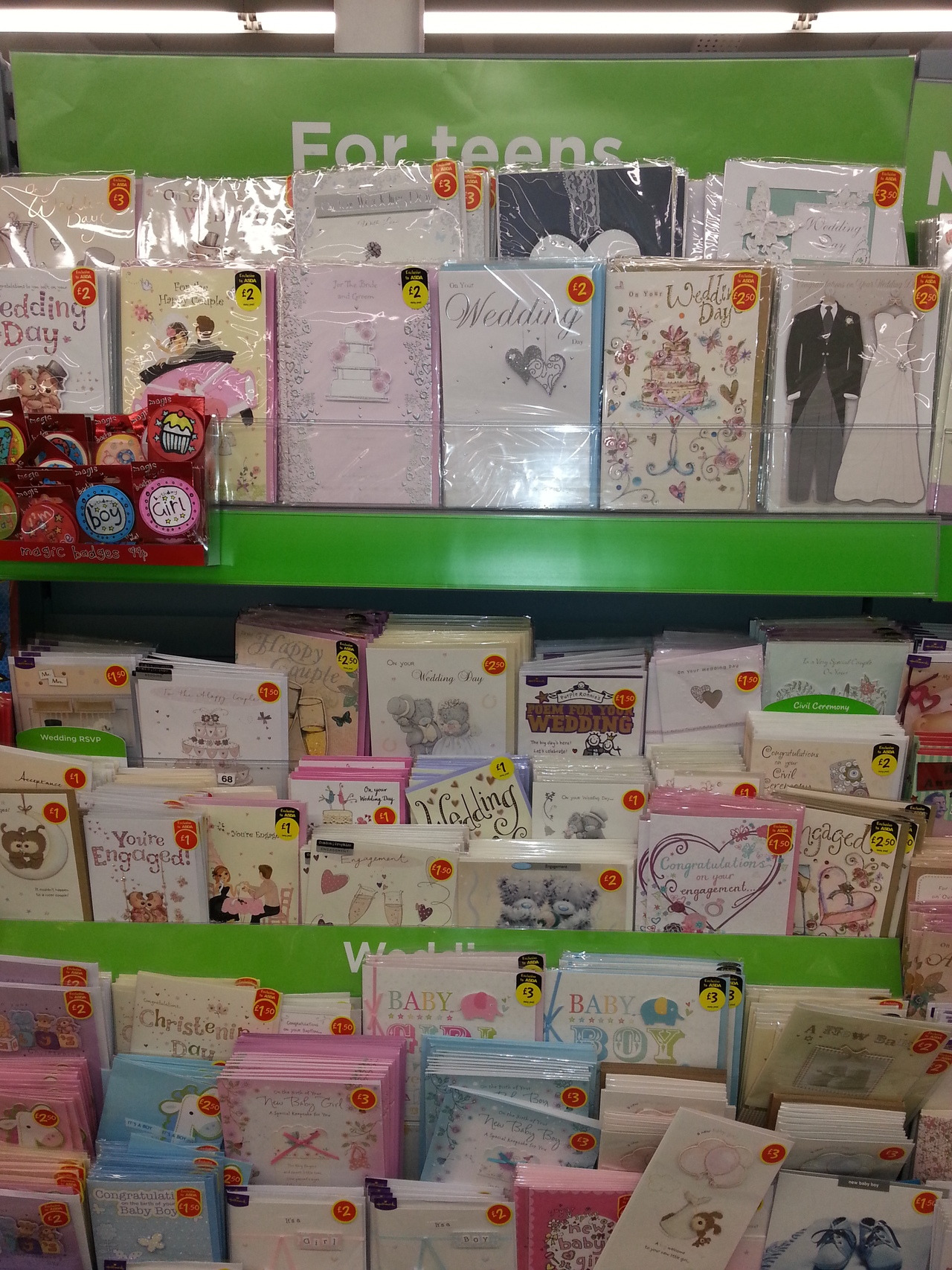 "youknowyourebritishwhen:  All the cards in the ""For teens"" section are for weddings and expecting babies."