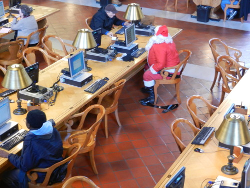 See - EVERYONE uses The New York Public Library! Think he was checking who has been naughty and who has been nice? But seriously, folks, the holiday season is indeed upon us, so if you're looking for a nice gift, check out our Library Shop - we have really amazing stuff for lovers of books and beyond. And if you become a Friend of the Library (supporting a great institution for as low as $40), you get a 10 percent discount - 20 percent during our annual Double Discount Week from Nov. 25 to Dec. 1! So join and save (and score some points with Santa).