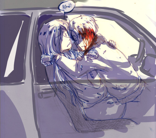 "iraya:  pickardie answered: Alfred dies/is dying from injuries in a car accident while a dirtied Anya (fem!Russia) is hysterically pleading for him to wake up.    I can't draw cars…>o<  [[Decided to write a drabble based on this]] Anya quickly unbuckled the restraint on Alfred, and grabbed him under the arms, lifting him into her hold. She didn't regard the tiny fragments of glass in her lap, or the blood that was coming from some unseen wound on his head. She just gently shook him, to jostle him awake, ""Alfred?"" His head flopped almost bonelessly as she shifted him, and he was completely limp in her lap. A wrong way driver had slammed into the driver's side of the car, and it spun into a guardrail. Alfred's side was completely totaled, as well as the front of the car. Anya was lucky she had held her hands up, since all she recieved was some nasty bruises on her legs, and a cut on her hand and left cheek. The Russian raised her good hand to stroke Alfred's face, smearing the blood a little. She gave a tiny smile, hysteria in her voice, ""Alfred, you should wake up now, and we can fix the car."" Blood trickled from his mouth in response. ""We can repair the windows…or get a new car. This one was cheap anyway."" The fleece of his bomber jacket was soaked a darker color now, and his glasses were nothing but broken, pathetic wire frames hanging from an ear. ""Alfred, wake up, darling."", she continued, shaking him again, ""Please."" Jostling him again, his head flopped onto her chest, leaving a bright red stain on her blouse. ""Darling, wake up please."", she repeated, shivering in horror and denial. This wasn't happening. She screwed her eyes shut, thinking it was just a nightmare that would disappear once she opened them again. Still there. ""Alfred…please wake up…"", she pleaded, voice growing desperate as her throat tightened. He's not dead. He's just sleeping. He's just in shock. Somebody will call an ambulance, and Alfred will be fine. She shook him harder, ""Fredka! Come on, please don't do this to me!!"" She let her hands off of him, and he sagged down into her lap, a broken heap. The Russian stared in horror, tears starting to trickle down her dirtied face. ""No. No no no…please…please don't leave me, love…"", she choked. This wasn't supposed to happen. They'd gone out that night for ice cream, and they'd taken it to the park. He'd asked her a question, she said yes, and accepted a ring, still on her finger. She gave a small sob as she stared at the token of love he'd given her, and could see some bewildered bystanders hurrying over. ""Oh my god…"", one of them murmured in shock, seeing Anya and Alfred's body in her arms, ""Sweetie, are you ok?!"" The woman barely whispered, ""Help."""